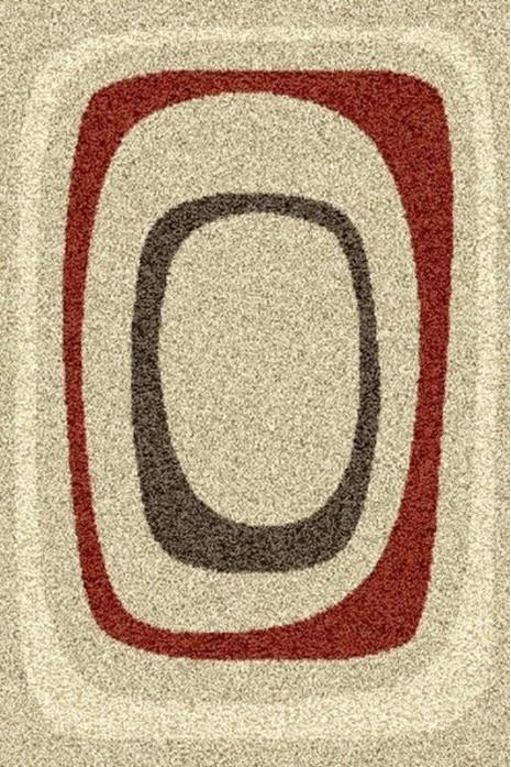 Ковер Super Shaggy 6524-657 бежевый с красными и серыми кругами