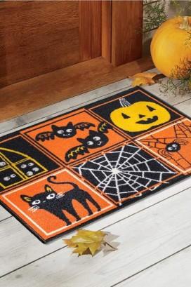 Коврик Taba 269 Хеллоуин Черный Кот, Пауки и Летучие Мыши